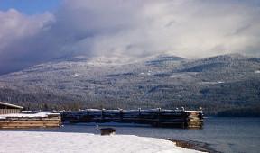 Snowy forrest surrounding Priest Lake near Elkins Resort