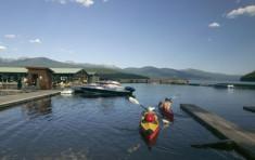 Kayaks near the docks at Elkins Resort on Priest Lake