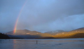 Rainbow over Priest Lake near Elkins Resort