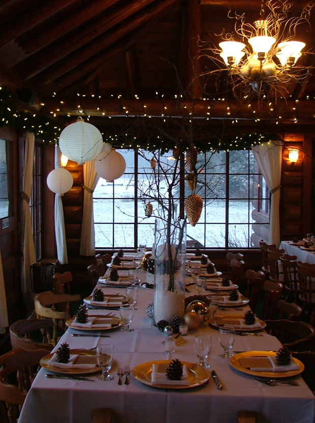 Warm Winter Wedding Reception Setting At Elkins Resort Elkins