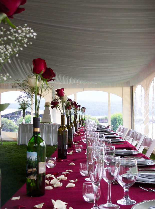 Place Settings For A Tent Wedding Reception At Elkins Resort