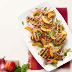 Grilled chicken with peaches