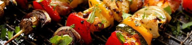 Grilled skewers of vegetables and various meat