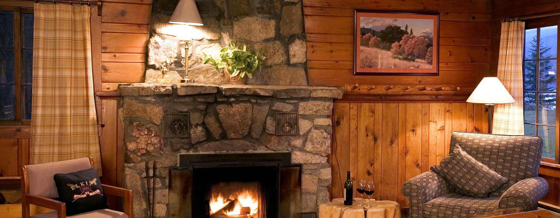 Inside our cabins with fireplace