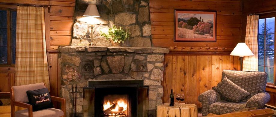 image of cabin fireplace at Elkins Resort