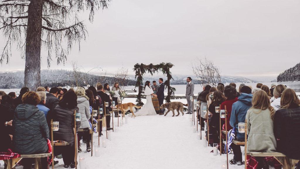 image of winter weddings at priest lake